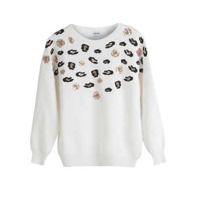 Sweater Animal Sequins wit witte truien winter kleding pailletten kopen bestellen