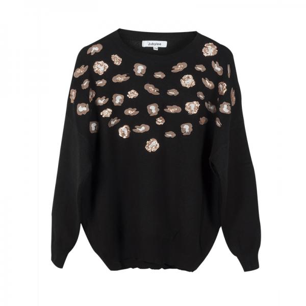 Sweater Animal Sequins zwart zwarte truien winter kleding pailletten kopen bestellen