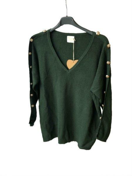 Trui-Buttons-groen groene-lange-dames-truien-v-hals-sexy-sweaters-winter-kleding-kopen-