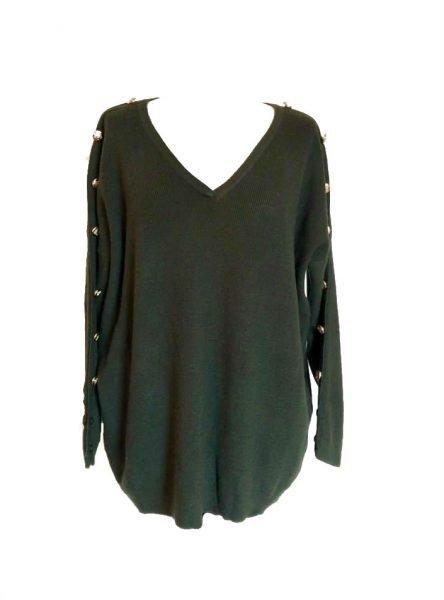 Trui Buttons groen groene lange dames truien v hals sexy sweaters winter kleding kopen