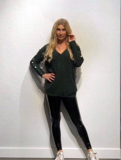 Trui Buttons groen groene lange dames truien v hals sexy sweaters winter kleding kopen fashion