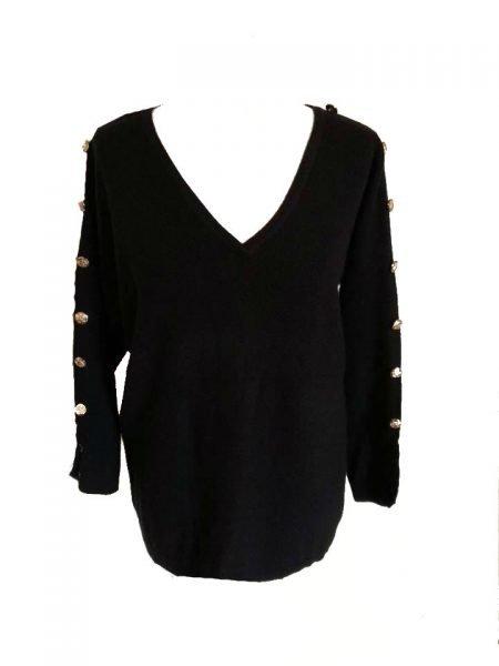 Trui Buttons zwart zwarte lange dames truien v hals sexy sweaters winter kleding bestellen