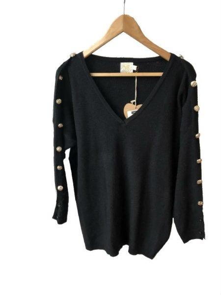 Trui-Buttons-zwart zwarte-lange-dames-truien-v-hals-sexy-sweaters-winter-kleding-kopen-