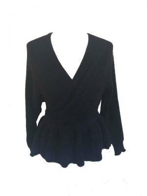 Zwarte-Peplum-Trui-zwart-black-dames-truien-sweaters-decolete-v-hals-sexy-truien-1