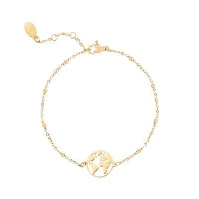 Armband Beautiful World goud gouden dames armbanden bracelets wereld detail kopen
