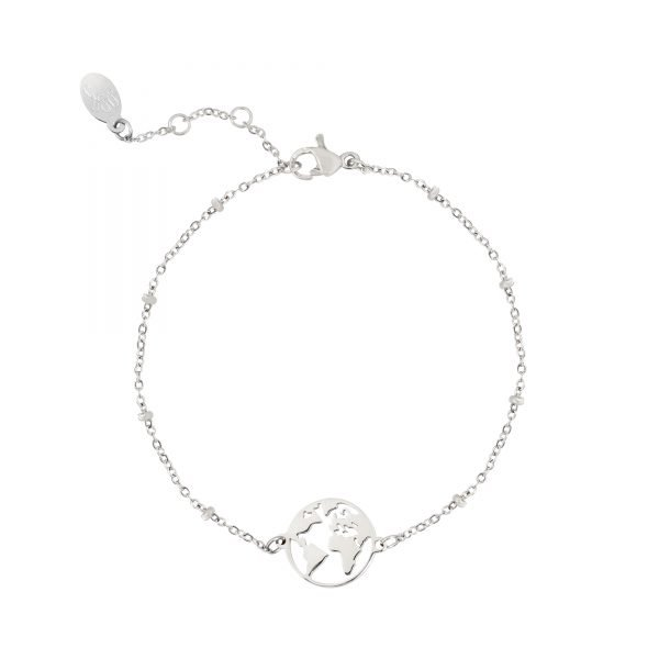 Armband Beautiful World zilver zilveren dames armbanden bracelets wereld detail kopen