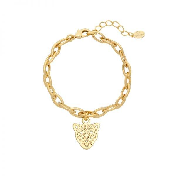 Armband Panter Dreams goud gouden schakelarmband dierenkop bedel trendy vergulde bracelets