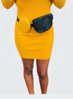Beltbag Duo Tas geel en zwart gele strapless jurk lina