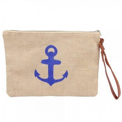Clutch Anker Blauw roze jutte clutches blauw blauwe anker print zomer tassen beach bags dames polsbandje kopen