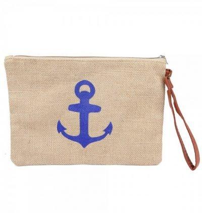 Clutch Ancher Blue roze jutte clutches blauw blauwe anker print zomer tassen beach bags dames polsbandje kopen