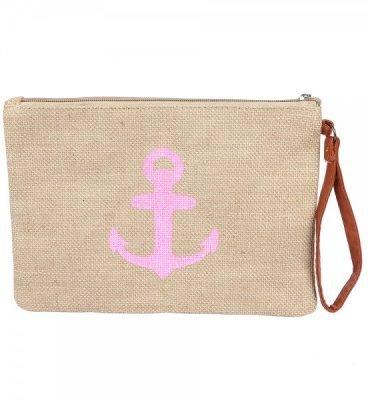 Clutch Ancher Pink roze jutte clutches roze anker print zomer tassen beach bags dames polsbandje kopen