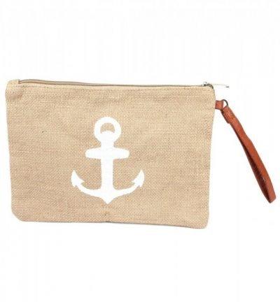 Jutte Clutch Anker Wit jutte clutches wit witte anker print zomer tassen beach bags dames polsbandje kopen