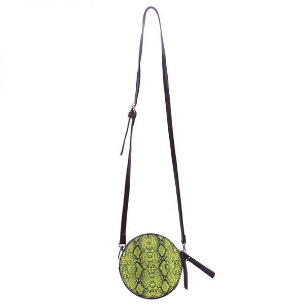 Duo Tas Stylisch Snake geel gele slangenprint heuptassen fannypack beltbag ronde schouder tassen kopen