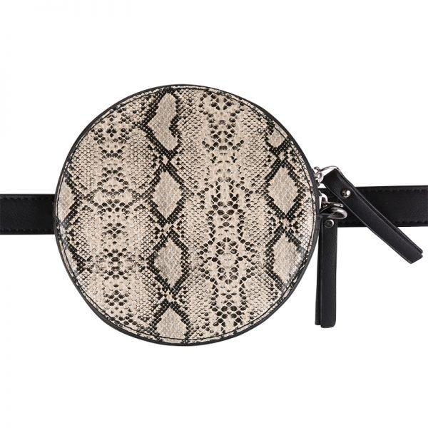 Duo Tas Stylisch Snake grijs grijze slangenprint heuptassen fannypack beltbag ronde tassen kopen