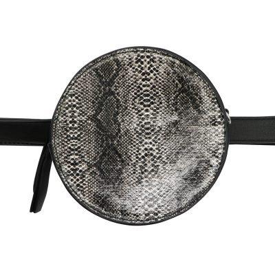 Duo Tas Stylisch Snake zwart zwarte slangenprint heuptassen fannypack beltbag ronde tassen kopen