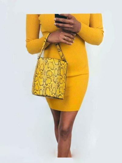 GELE strapless jurk lina Bucket Bag Trendy Snake geel zomer goedkoop yehwang accessoires kopen