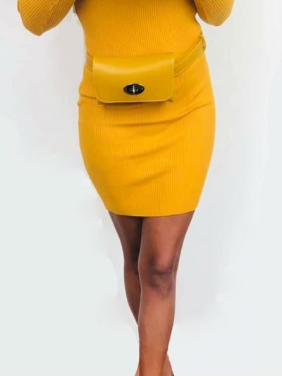 GELE strapless jurk lina Leren Belt Bag Classic fannypack heuptas goedkoop online winkelen musthave fashion kopen