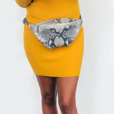 GELE strapless jurk lina Leren Heuptas Snakes goedkoop online winkelen musthave fashion
