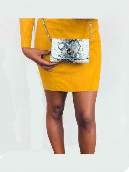 12a2ad1f360 GELE strapless jurk lina Leren Schoudertas Classic Snake zomer goedkoop