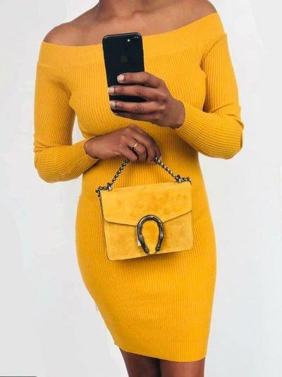 GELE strapless jurk lina Suède Tas Hoefijzer tassen zilveren kettinghengsel geel zomer giuliano kopen bestellen