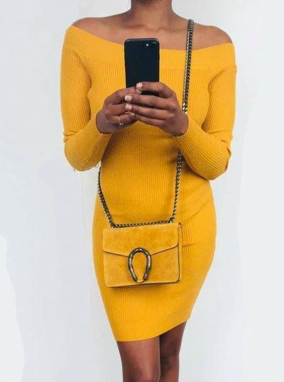GELE strapless jurk lina Suède Tas Hoefijzer tassen zilveren kettinghengsel geel zomer giuliano kopen