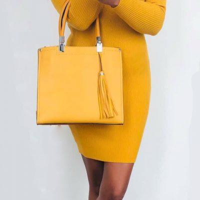 GELE strapless jurk lina handtas yara tassle geel giuliano tassen kwastjes geel zomer