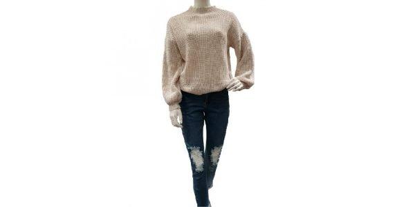 Grijze Trui Berry creme dames truien sweaters brede mouwen fashion kleding klopen online details