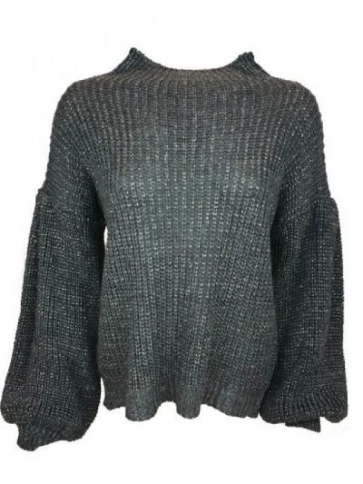 Grijze Trui Berry grijs dames truien sweaters brede mouwen fashion kleding klopen online details