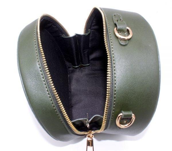 Half Ronde Tas Must groen groene ronde dames tassen kunstleder rits polsbandje lang hengsel kopen tassen online open