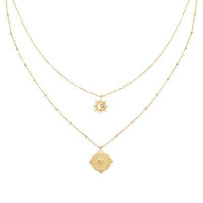 Ketting Compass Star goud gouden dubbele ketting ster bedel kompas bedel fashion kettingen necklages kopen