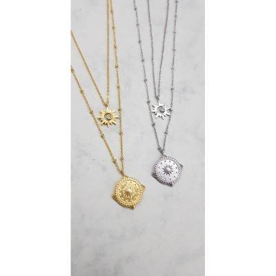 Ketting Compass Star goud goudne dubbele ketting ster bedel kompas bedel fashion kettingen necklages bestellen