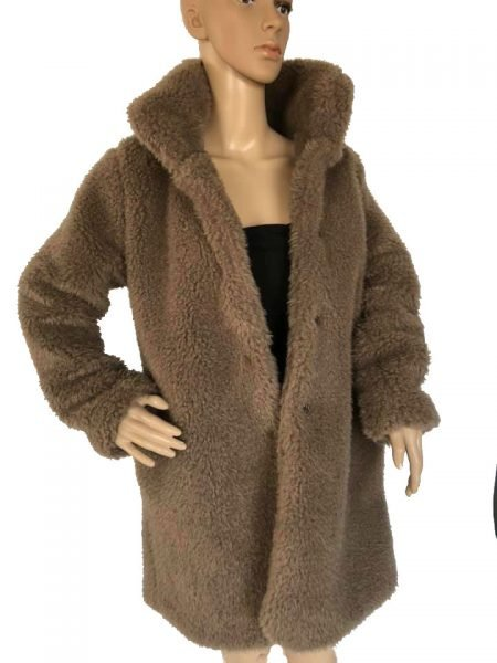 Lange Teddy Jas.Teddy Coat Soft Love Taupe Shop Verschillende Warme Winter Jassen