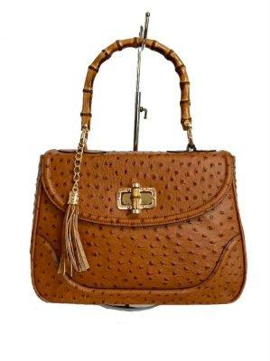 Leren Handtas Bamboe cognac camel lederen leer tassen houten handvat luxe bags giuliano kopen