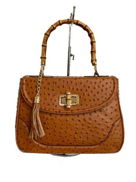 ad7b400f80a Leren Handtas Bamboe cognac camel lederen leer tassen houten handvat luxe  bags giuliano kopen