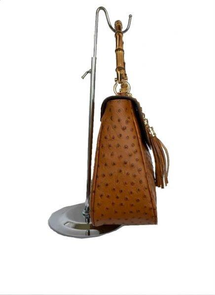 Leren Handtas Bamboe cognac camel lederen leer tassen houten handvat luxe bags kopen zijkant