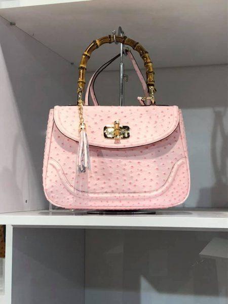 Leren Handtas Bamboe roze pink lederen leer tassen houten handvat luxe bags giuliano kopen