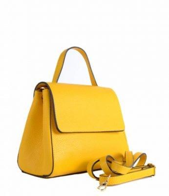 f4976f5006b Leren Handtas Lena geel gele tassen giuliano dames luxe kantoortassen  fashionbags kopen side