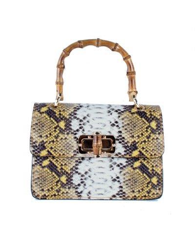 Leren-Handtas-Lovely-Wood-Snake-gele geel slangenprint dames-tassen-leder-houten-handvat-kopen-bestellen-luxe-