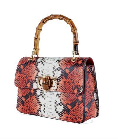 Leren-Handtas-Lovely-Wood-Snake-rood rode slangenprint dames-tassen-leder-houten-handvat-kopen-bestellen-luxe kettinghengsel