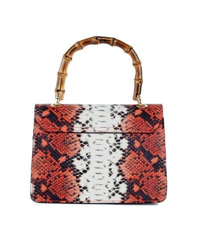 Leren-Handtas-Lovely-Wood-Snake-rood rode slangenprint dames-tassen-leder-houten-handvat-kopen-bestellen-luxe kettinghengsel achter