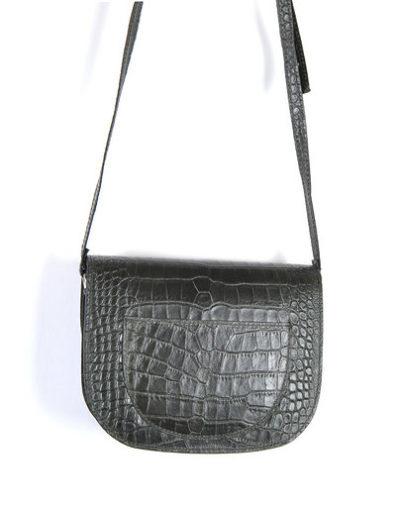 Leren-Tas-Half-Rond-Croco-zwart zwarte leren-tasssen-crocoprint-tassen-leder-dames-kopen-schoudertassen-trends achterkant