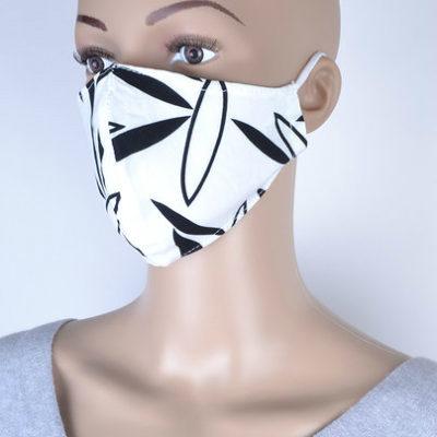 Mondkapje Leaves witte kapjes met zwarte bladeren print trendy uni kleurige mondkapjes bescherming mondmaskers leuke bescherming katoenen wasbaar