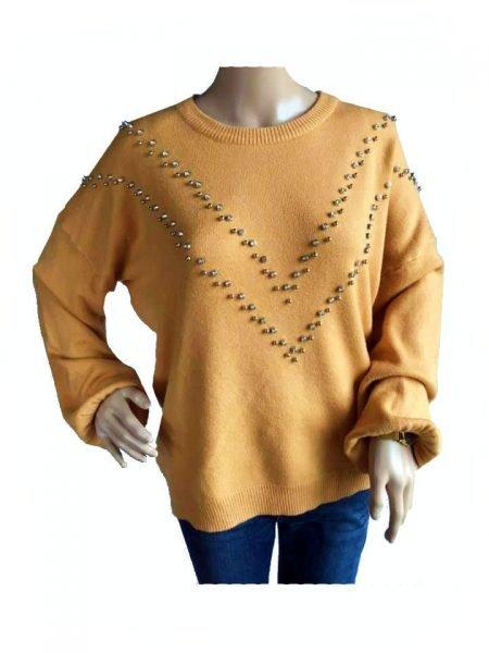 Oker Gele Trui studs geel dames truien zachte sweaters kleding shop fashion online kopen