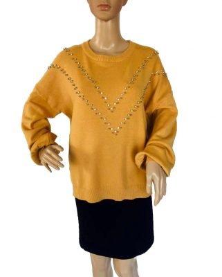 Oker-Gele-Trui-studs-geel-dames-truien-zachte-sweaters-kleding-shop-fashion-online-kopen bestellen