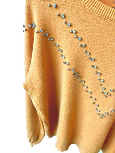 Oker Gele Trui studs geel dames truien zachte sweaters kleding shop fashion online kopen detail