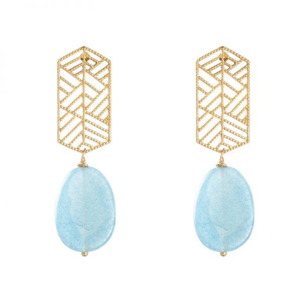 Oorbellen Sunset Dreams goud blauw blauwe steen statement oorbellen earrings