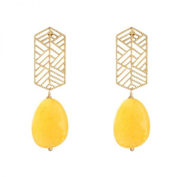 Oorbellen Sunset Dreams goud gele geel steen statement oorbellen earrings