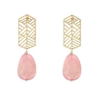Oorbellen Sunset Dreams gouden goud roze pink steen statement oorbellen earrings
