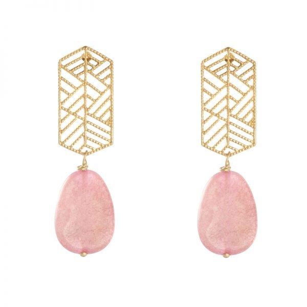 Oorbellen Sunset Dreams gouden goud roze pink steen statement oorbellen earrings