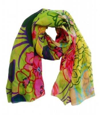 Pareo Sjaal Happy FLowers kleurrijke polyester sjaals omslagdoek print kopen bestellen dames
